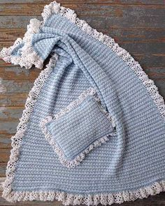 crochet pattern for a baby blanket and pillow