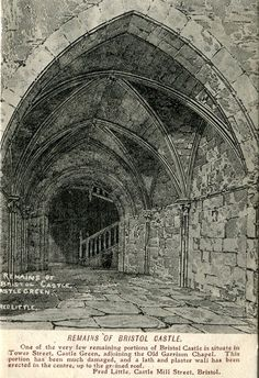 Remains of Bristol Castle - Old postcard by Fred Little