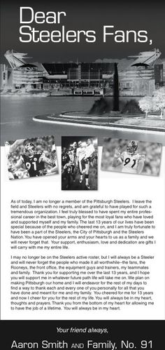 Pittsburgh Steelers Aaron Smith's letter to fan at his retirement from football