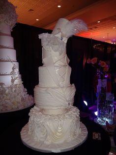 A remarkably creative wedding cake.