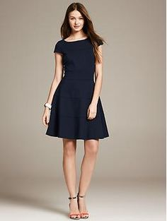 Seamed Fit-and-Flare Dress - Dresses ::Tiered seams plus a fit-and-flare silhouette add up to one flattering frock. Boatneck. Cap sleeves. Exposed back zip. Flared skirt. Preppy Navy