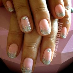 glitter ombre with rhinestones by azusa from Nail Art Gallery