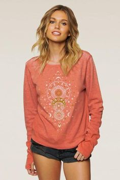 The moon is magic for the soul and light for the senses. Draw from the mystical moon in this cozy waffle long sleeve thermal pullover. Features long cuffs and t