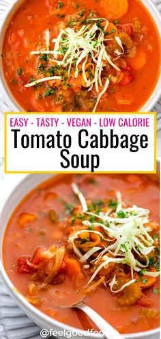 This Tomato Cabbage Soup is vegan easy to make and low in calories. It's perfect for anyone dieting cleansing or just looking for a light and health lunch Side Dish Recipes, Veggie Recipes, Lunch Recipes, Real Food Recipes, Soup Recipes, Detox Recipes, Vegetarian Recipes, Potato Recipes, Dinner Recipes