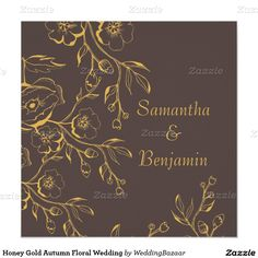 Honey Gold Autumn Floral Wedding 5.25x5.25 Square Paper Invitation Card @giftsbonanza