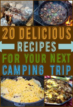20 Delicious Recipes For Your Next Camping Trip 20 köstliche Camping Rezepte Campfire Desserts, Campfire Food, Campfire Recipes, Camping Outfits, Dutch Oven Recipes, Cooking Recipes, Cooking Ideas, Dutch Oven Camping, Camping Meals