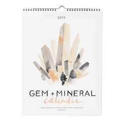 """Our best-selling Gem & Mineral calendar is back for 2015! We illustrated 12 unique gem & minerals in vibrant watercolor paintings; Amethyst, Calcite, Citrine, Diamond, Emerald, Obsidian, Moonstone, Flourite, Peridot, Sapphire, Pink Quartz and Ruby. The best news is that each month's illustration breaks down into a framable 8"""" x 10"""" print. You are welcome!  • Heavy White Bond Stock • 11″ x 14″ • Packaged flat in cello sleeve"""