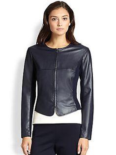 St. John Zip-Up Leather Jacket