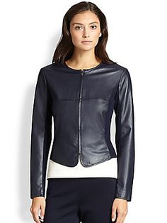 St. John Zip-Up Leather Jacket