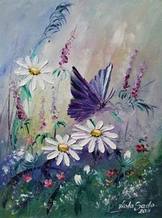 I just LOVE this butterfly and wildflowers painting! I have to paint this! By Viola Sado. Butterfly Painting, Butterfly Art, Flower Art, Butterflies, Art And Illustration, Spring Art, Arte Floral, Beautiful Paintings, Painting Inspiration
