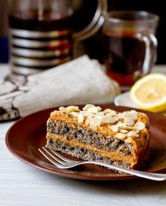 Рецепт макового торта с кремом из вареной сгущенки на Вкусном Блоге Сладкие Рецепты, Рецепты Тортов, Маковый Торт, Русские Рецепты, Сгущенное Молоко, Сладкие Пироги, Молоко
