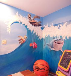 Children's playroom mural with wall decals