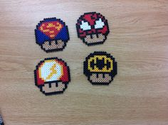 Superhero mushrooms perler beads by Amanda Collison