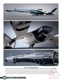— Mass-Effect-Andromeda-Art-Tempest. Spaceship Art, Spaceship Design, Concept Ships, Concept Art, Stargate, Mass Effect Ships, Space Opera, Starship Concept, Sci Fi Spaceships