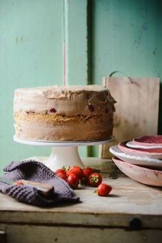 Strawberry cake with chocolate & salted caramel mousse & almond sponge