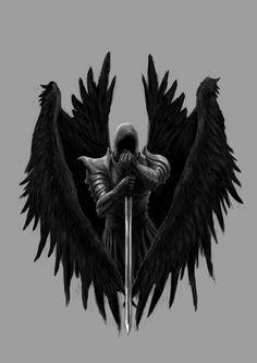 Picture memes by Abaddon_Tenebris - iFunny :) - Dark fantasy Fantasy Kunst, Dark Fantasy Art, Fantasy Artwork, Tattoo Drawings, Body Art Tattoos, Sleeve Tattoos, Archangel Michael Tattoo, Warrior Tattoos, Angel Warrior Tattoo