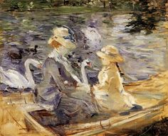 Berthe Morisot, 1841-1895, French painter and first lady of the circle  ' The Impressionists '  - On the lake in the Bois de Boulogne '