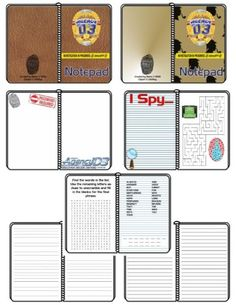 """Calling All D3 Secret Agents - This is a set of 2 Secret Agent Notepads.  They include 2 different covers (leather and sleuth), activity pages, blank pages, and a number of lined pages with different spacing (for a variety of ages/grades).  These can be used for VBS with LifeWay's """"Agency D3""""."""