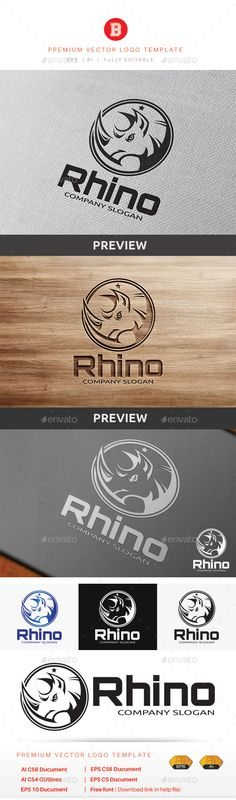 Rhino  Logo Design Template Vector #logotype Download it here: http://graphicriver.net/item/rhino-logo/9318949?s_rank=450?ref=nexion