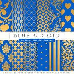 Blue and Gold digital paper gold background by LaBoutiqueDeiColori