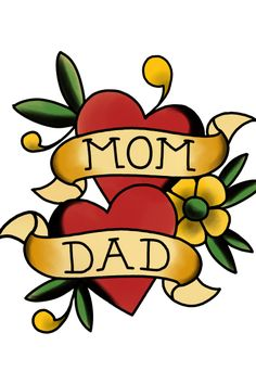 Mom and Dad - Dia dos pais Mom And Dad, Dads, Tattoos, Finding Nemo, Gifts, Tatuajes, Tattoo, Fathers, Tattos