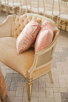 Pink + gold great for the closet seating