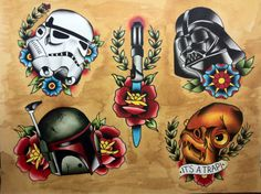 Ink It Up - Traditional Tattoos. Boba fett is too dark, but it's awesome