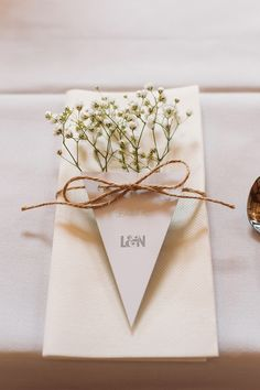 Gypsophila Baby Breath Bunting Table Place Name Setting Twine Rustic Summer Country Fayre Wedding http://candidandfrankphotography.com/