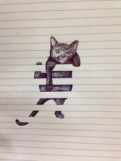 ノートに描かれた猫01