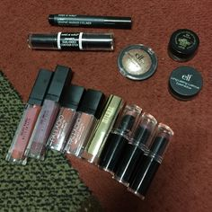 Random drugstore makeup lot Includes: (these items were only swatched can but sanitized) give me glow (etsy site) liquid lipsticks in mania, pumpkin couture & autumns soul  | Palladio matte lipsticks in suede and raw silk | elf long lasting eyeshadow in toast | elf baked shadow in toasted | wet n wild contour stick in medium | wet n wild liner || (these items were used, but sanitized) Milani brow pomade in brunette | wet n wild Milani matte lipstick in matte beauty | wet n wild lipsticks in…