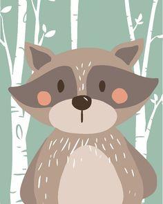 Forest Animals, Woodland Animals, Hunny Bunny, Krishna Painting, Cute Kawaii Drawings, Boy Decor, Animal Wallpaper, Kids Prints, Nursery Prints