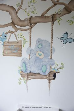 Baby Room Paintings, Room Wall Painting, Baby Painting, Wall Text, Baby Wall Decor, Teddy Bear Pictures, Baby Room Design, Baby Boy Rooms, Kids Room