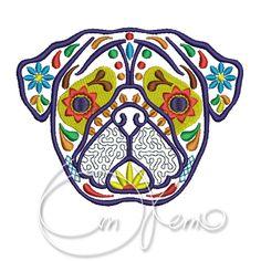 MACHINE EMBROIDERY DESIGN - Calavera Pug, Dia de los muertos, Mexican design, Halloween design, calavera dog, Day of the dead by OTKETO on Etsy