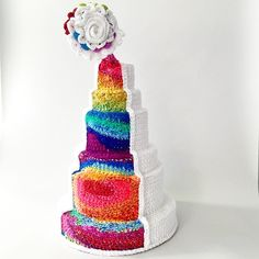 Big Gay Wedding Cake by London Kaye Crochet!  #pride #lovewins #rainbow #love #Pride2015 #crochet
