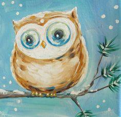 Barn Owl Original Painting on Canvas winter by BlueSeaPaintShop, $45.00