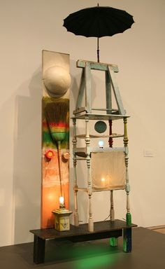 "Robert Rauschenberg, The Tower, 1958.    He called what he did working in ""the gap between art & life."" In practice that meant radical inclusion -- intake -- the continuous, open-ended transformation of ""the mess of life"" into art. In his ""Combines"", Rauschenberg uses discarded trash & daily objects made from every kind of material: signs, clothing, pillows, sticks, cardboard boxes, dirt, furniture, bricks, printed fabric, rusted shapes of iron.  Blogspot, Tim Collins"