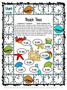 Beach Time board game from END OF YEAR MATH GAMES FIRST GRADE by Games 4 Learning. $