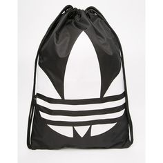 adidas Originals Drawstring Backpack in Black (€14) ❤ liked on Polyvore featuring bags, backpacks, adidas, black, logo drawstring bags, logo bags, drawstring backpack bags, adidas backpack and logo backpacks