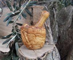 Olive wood pestle and mortar, hand made from Ellenisworkshop by DaWanda.com