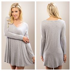 Casual Heather Grey Shift Dress Such a cute basic dress for casual days! Long Sleeve V-Cut Jersey Dress in Heather Grey. 95%Rayon 5%Spandex   Sizes Available: S,M,L  Price is firm unless bundled! 10% off all bundled  *Please do not purchase this listing, I will create a new one with your size* Thank you, Xo Boutique Dresses Mini