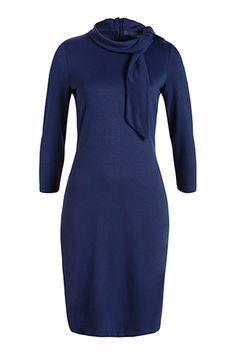 Esprit / Jersey jurk met opstaande kraag en strik