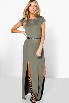 08acbed60d66 Carrie-Ann Front Split Maxi Dress Boohoo Dresses, Boohoo Outfits, Khaki  Dress,