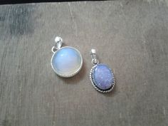 Opalite and fire opal handcrafted pendants