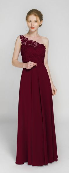 deep red wine one shoulder fall bridesmaid dresses TBQP363