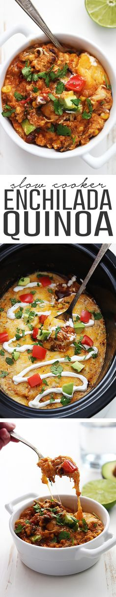 Easy, cheesy and HEALTHY enchilada quinoa made right in the crock pot with just 5 minutes of prep.