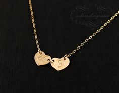 two heart initial necklace - etsy $38