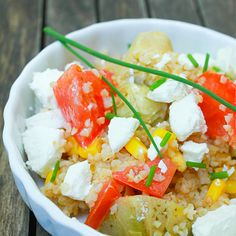 Quinoa with cherry tomatoes and edamame and goat cheese
