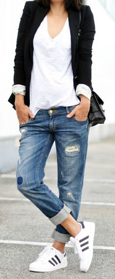 one of our favourite looks: distressed boyfriend jeans with a complementing…