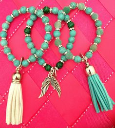 Beautiful turquoise bohemianchic bracelets by KassiopeiaJewels