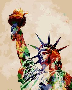 """16X20"""" Diy Paint By Number Kit Acrylic Oil Painting On Canvas--Statue Of Liberty"""